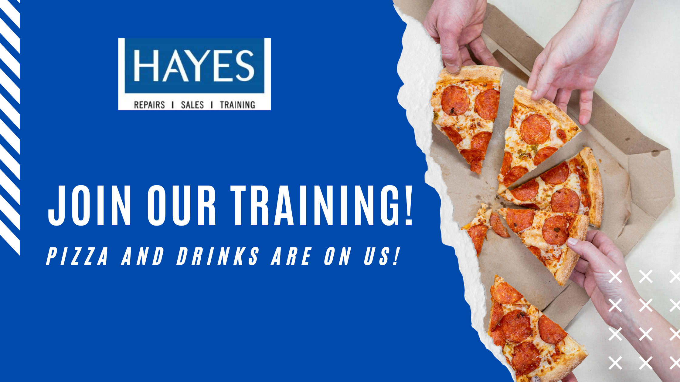 Hayes Training Banner with Pizza